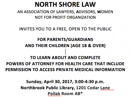 North Shore Law Offering Free Help for 18 & Over Healthcare Powers of Attorney on APRIL 30