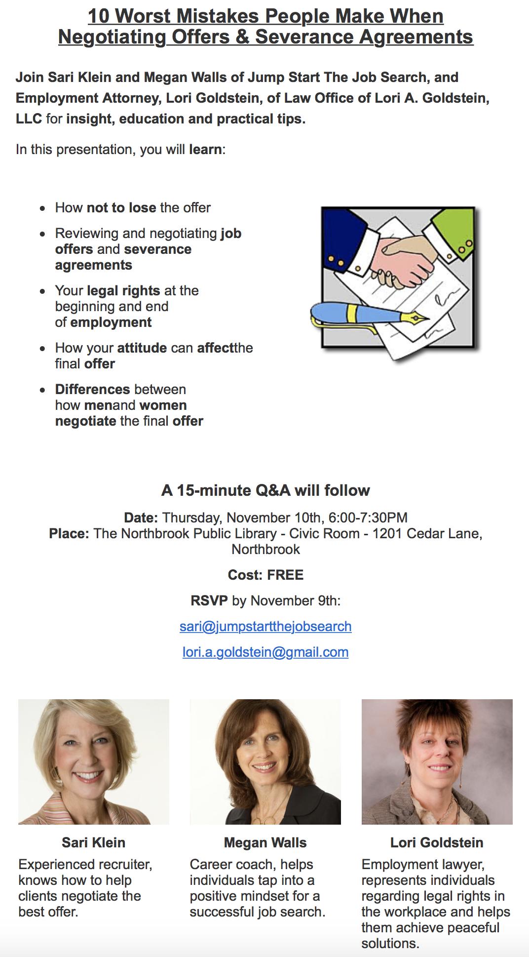 Thursday, Nov. 10 – Goldstein Takes On Worst Mistakes in Negotiating Employment Agreements